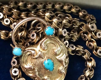 Victorian Turquoise & Gold Padlock