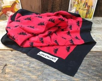 Vintage Silk Equestrian Scarf/Black/Red/Square/Horses