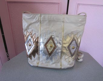 "1980s White Leather Tote with Embellishment by ""Samir"""