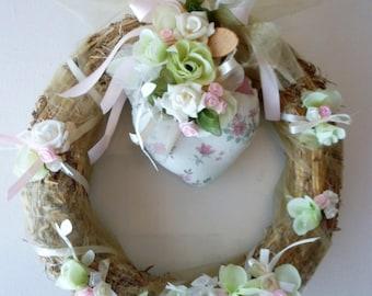 straw wreath, heart, flowers: spring