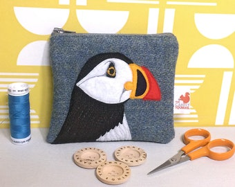 Puffin purse  - puffin coin purse - blue Harris Tweed - puffin zip purse - puffin gift - Seabird purse - bird purse - embroidered puffin