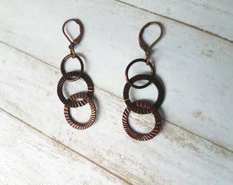 Brown Circle Earrings - Chain Link Earrings - Ring Earrings - Rustic Earrings - Tribal Earrings - Hoop Earrings