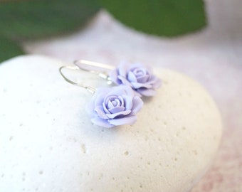 Lilac Earrings, Blue Rose Earrings, Dusty Rose Flower Earrings, Flower Girl Gift Earrings, Lavender Bridesmaid Earrings, Wedding Earrings