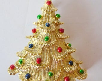 Vintage CHRISTMAS TREE Brooch Pin Goldtone Signed