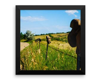 Framed photo paper poster - Red Silo Original Art - Boot Fence H