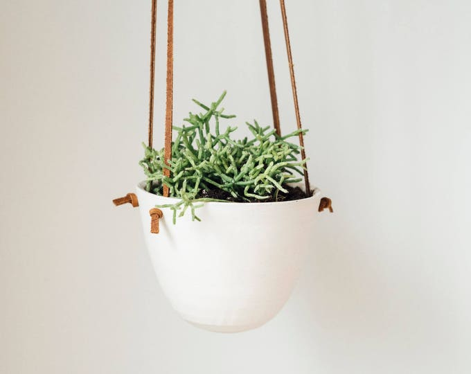Small Hanging Planter - Leather and Ceramic - Brown Knotted Leather - Handmade - KJ Pottery