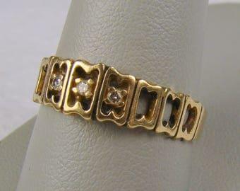 UGEM Signed 14k Gold Diamond Cut-Out Wedding Band ~ Size 10 1/4 (Photo#5)