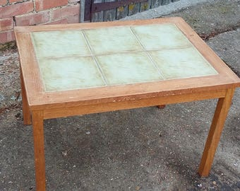 Green Tile and Teak Retro Coffee Table