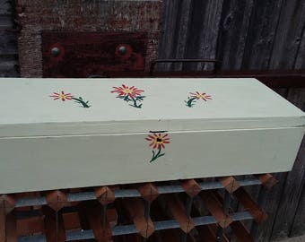 Vintage Painted Box with Upper Storage Compartment