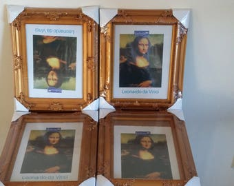 4 Hanging or Freestanding Gold Picture Photo Frames 34 x 28 cm