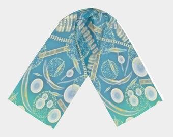 Phytoplankton scarf pond water fashion accessory high quality polychiffon marine life algae Science artist original art print chic geek wear