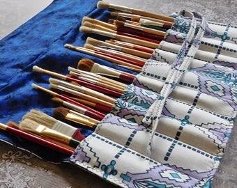 Artist Brush Roll - Brush Organizer - Paint Brush Holder - Artist Travel Case - Mixed Media Roll - Artist Case - Artist Supplies