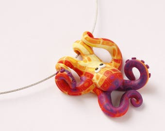 Hand made polymer clay cute PURPLE-YELLOW octopus pendant