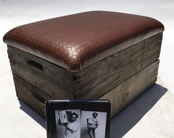 Upholstered Wooden Crate Ottoman - Leather