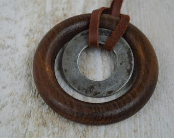 INDUSTRIAL// Industrial Jewelry// RE-PURPOSED Necklace// Metal Washer and Wooden Ring //Upcycled Jewelry//Leather Jewelry