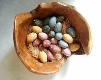 Speckled Wood Eggs - Farm Fresh  Life Size Modern Country Farmhouse Eggs- Treenware & Trencher Bowl Filler /0718
