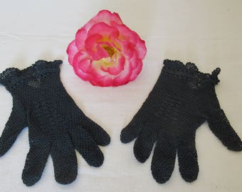 Delicate Crocheted Hand Made Navy Blue Lace Gloves, Cotton Crochet Gloves, Costume Gloves, Romantic Gloves - French fashion