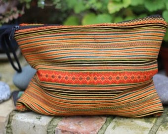 Thai Hill Tribe/Hmong Hand Embroidered clutch bag, cable bag, ipad bag, make-up, gypsy, boho, ethnic