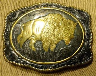 Vintage Crumrine Jewelers Reno Nevada Heavy Silver Plate on Jeweler's Bronze Water Buffalo Belt Buckle