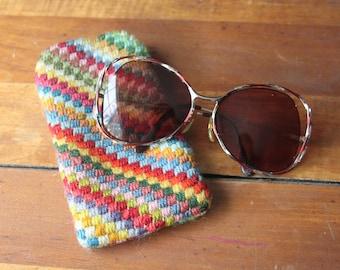Vintage Eyeglass Sunglasses Case, Embroidered Glasses Case, Soft Sided Glasses Case, Funky Colorful Rainbow