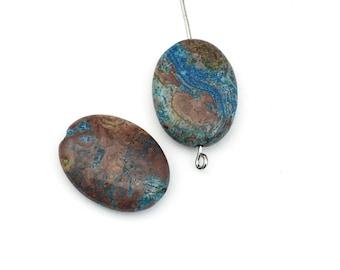 2 aqua stripe jasper square puff stone beads / 15mm x20mm #PP021