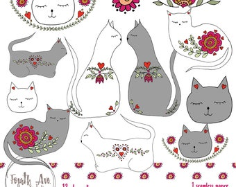 Cats Clipart, Folkart, Cats, Kitties, Valentine's Day, Scandinavian, Cat Lover, Illustration, Clipart, Digital Stamps