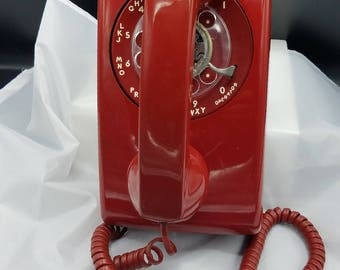 Candy Red Retro Wall Rotary Bell Systems Telephone