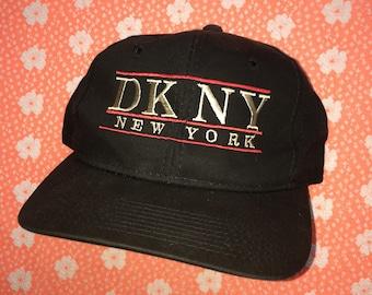 vintage snapback hat / 90s dkny donna karen new york baseball cap / black adjustable osfa / Calvin Klein Guess Polo