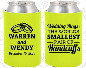 Wedding Rings, The Worlds Smallest Pair of Handcuffs, Wedding Gift Ideas, Handcuffs, Wedding Rings, Wedding Can Coolers (504)