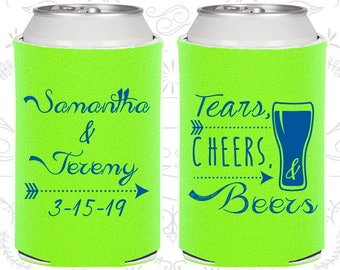 Lime Green Wedding, Lime Green Can Coolers, Lime Green Wedding Favors, Lime Green Wedding Gift, Blue Party Decor (287)