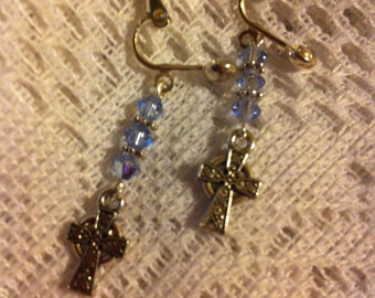 Lavender and silver plated clip on earrings with Celtic Cross charms.