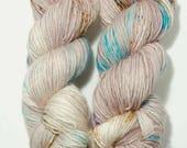 Hand Dyed Yarn - 'Moonstone' - Superwash Merino Single Ply Worsted  cream, grey, purple, blue, brown 220 yards