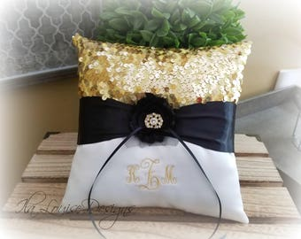 Ring Bearer Pillow, Gold and Ivory Ring Bearer Pillow, Monogrammed Ring Bearer Pillow, Gold and Black Ring Bearer Pillow