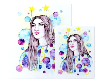 StarGazer / Art Print / Fashion Illustration / Watercolour Painting