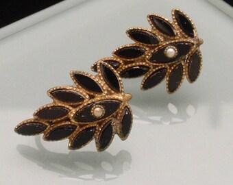 Black Leaf Mourning Earrings Antique