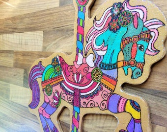 Spectacular watercolour woodburning pyrography hobby horse shaped plaque