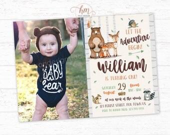 Woodland Invitation, Woodland Birthday Invitation, Forest Friends, Adventure, Woodland boy Invitation PRINTABLE FILE