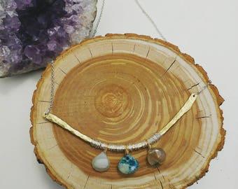 Peruvian opal bib necklace