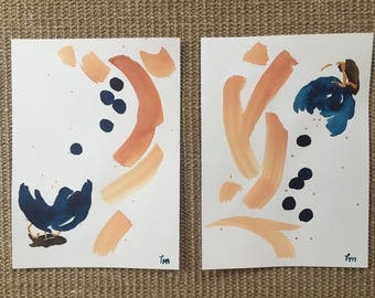 Pair abstract paintings