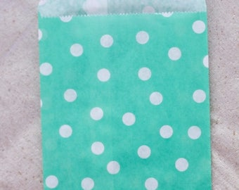 ON SALE - 15% OFF 12 Designer Turquoise Dot Paper Bags - Additional Items Ship Free!!!