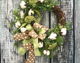 Cotton Farmhouse Wreath, Cotton Boll Wreath, Southern Wreath, Preserved Cotton Ball Wreath, Fixer Upper Wreath, Year Round Wreath, Everday