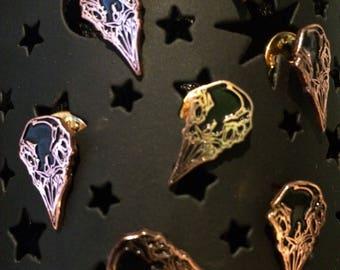 Raven Skull Enamel Pin