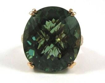 20.9 Carat Green Prasiolite and Diamond Ring.