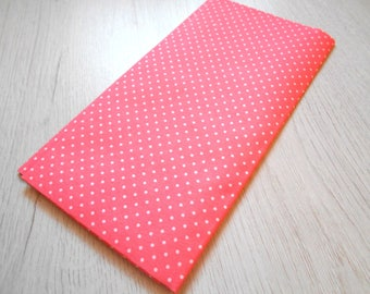 Shades Pink salmon polka dot cotton fabric coupon / white 49 x 49 cm new