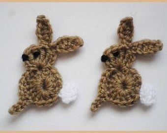 Lot 2 rabbits applique crochet wool