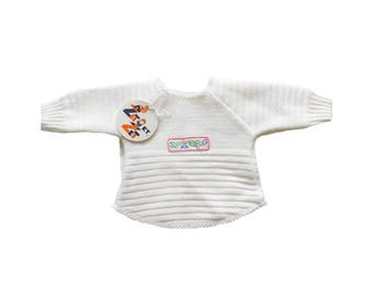 """FRENCH VINTAGE 70's / for babys / white sweater / pull over / """" Space """" patch / new old stock / size 0/3 months"""