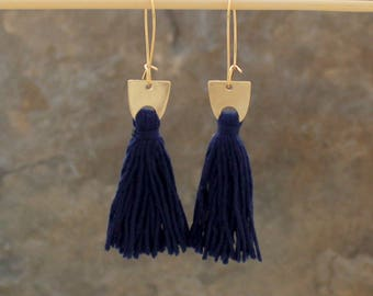 Tassel Earrings, Pink Tassel Earrings, Navy Tassel Earrings, Tassle Earrings, Pink Gold Earrings, Navy Gold Earrings, Geometric Earring