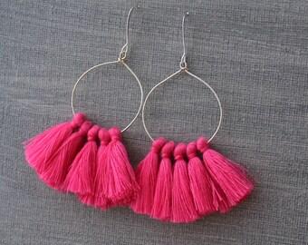 Tassel Hoop Earrings - Tassel Earrings - Pink Tassel Earrings - Fringe Earrings - White Tassel Earrings - Gold Hoop Earrings, Tassle