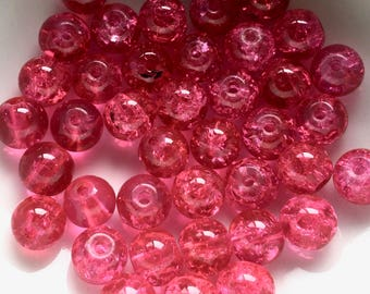 40 x 6mm hot pink crackle beads - pink beads - bright pink beads - Uk beads - Uk supplies - Jewellery making - Uk seller - DIY jewellery