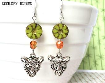 Leopard earrings - Big cat earrings - Tribal earrings - Animal earrings - Boho earrings - Leopard jewellery - Animal jewellery - Etsy UK